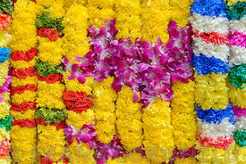 Garlands for sale at a market in Singapore.