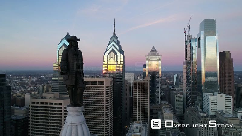 Drone Video William Penn Statue City Center Philadelphia Pennsylvania