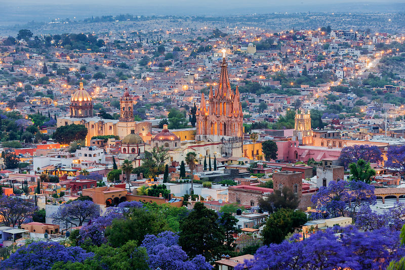 Elevated View of the Skyline of San Miguel de Allende at Dusk