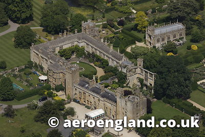 aerial photograph of Sudley Castle Gloucestershire  England UK
