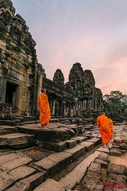 Monks at sunrise inside Angkor Wat temple, Cambodia