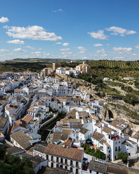 Elevated View of a Typical Moorish Andalucían White Town
