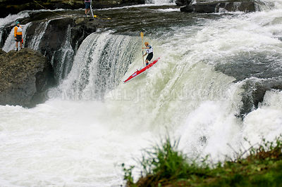 Paddle Boarder Over Ohiopyle Falls