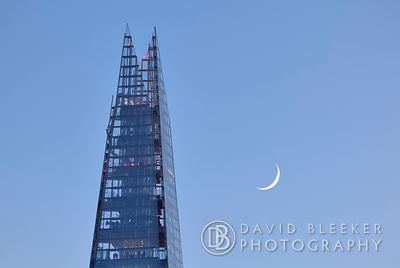 The Shard with the Waxing Cresent Moon