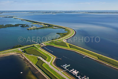 The  Bergsdiepsluis (Bergse Diep Lock)  and the Oester Dam, Delta Works, Tholen, Zeeland, the Netherlands