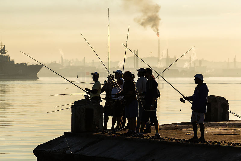 Fishermen along the Harbour Entrance to the Port of Havana