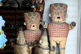Replica pre-Columbian ceramic figures for sale in handicraft shop, Miraflores, Lima, Peru