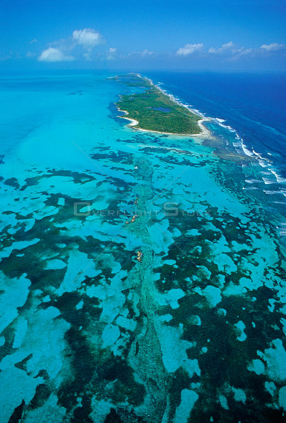 Aerial view of Contoy Island from the south, Contoy Island National Park, Mesoamerican Reef System, near Cancun, Caribbean Sea, Mexico, January
