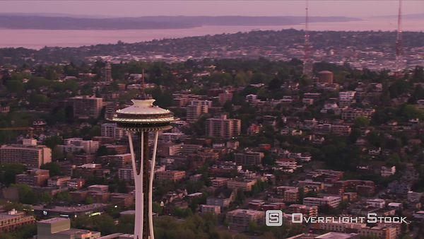 Seattle, Washington Closeup aerial view of Seattle Space Needle at dawn.  Shot with Cineflex and RED EpicW Helium.