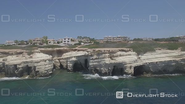 Paphos Sea Caves on the Mediterranean Drone Video Cyprus
