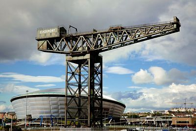 The Iconic Finnieston Crane Standing in front of the SSE Hydro Arena