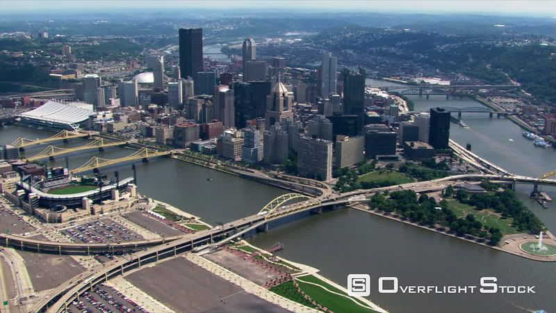 Looking back at Pittsburgh, Pennsylvania, from above Ohio River.