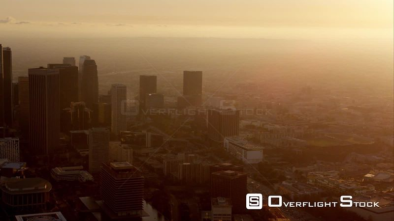 Aerial View Of Downtown Los Angeles Looking West Against Setting Sun, RED R3D 4k California