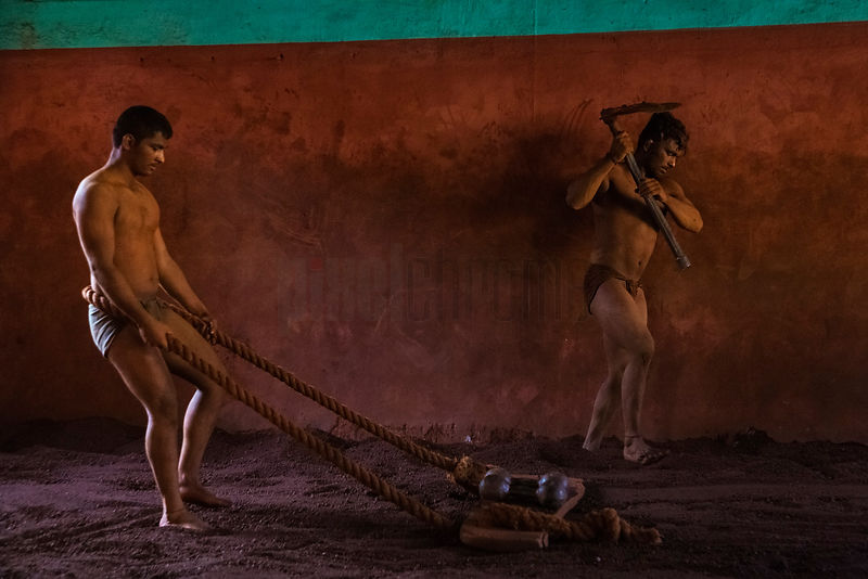 Kushti Wrestlers Using Traditional Implements to Exercise Different Muscles