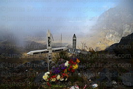 Memorials to road accident victims at Boca del Sapo below La Cumbre on main La Paz to Yungas road, Bolivia