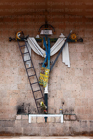 Arma Christi / Arms of Christ cross outside the church of Santiago the Apostle / Immaculate Conception, Lampa, Peru