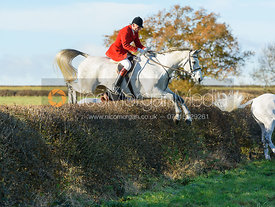Joss Hanbury jumping a hedge at Barrowcliffe Farm 18/11