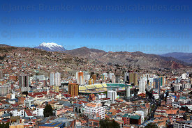 Hernando Siles Olympic Stadium, Miraflores district and Mt Illimani, seen from Killi Killi viewpoint, La Paz , Bolivia