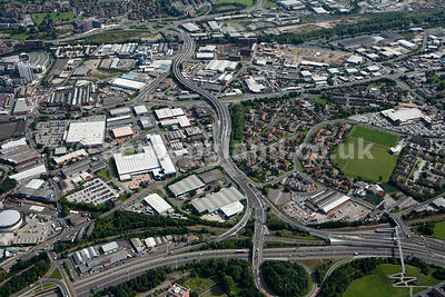 aerial photograph of the A61 John Smeaton viaduct abnd vicinity in Leeds Yorkshire England UK