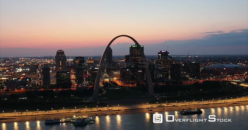 Night View of The Gateway Arch St Louis Missouri