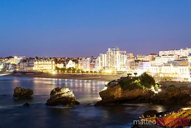View of the beach and the city at night, Biarritz, France