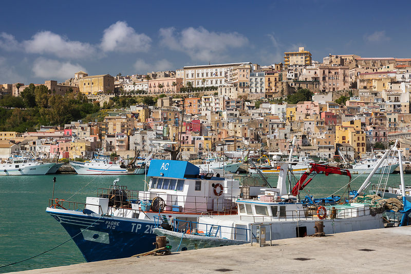 Fishing Boats Lined up at the Dock at Sciacca