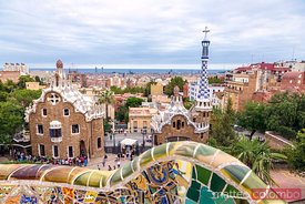 Park Guell by Anton Gaudi and city of Barcelona, Spain
