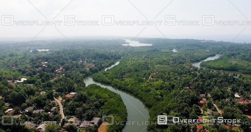Aerial View of Bentota Ganga River, Sri Lanka, Filmed by Drone