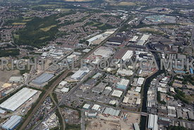 Sheffield Newhall looking up the Don Valley towards Meadowhall and the M1 motorway