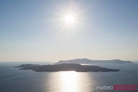 Sunlight over the caldera, Santorini, Greece