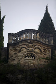 Italy - Verona - The terrace (belvedere) of the Giardini Giusti showing a 'mascherone' (grotesque mask) that originally emitted flames