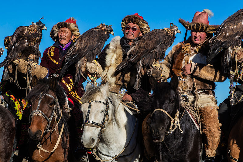 Kazakh Eagle Hunters at Golden Eagle Festival Awards Ceremony