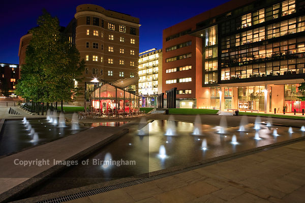 Brindleyplace at night, Birmingham, England UK