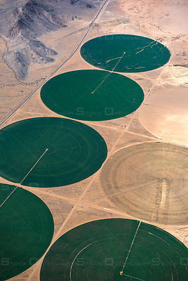 circular irrigated fields in the Mojave Desert, CA, USA