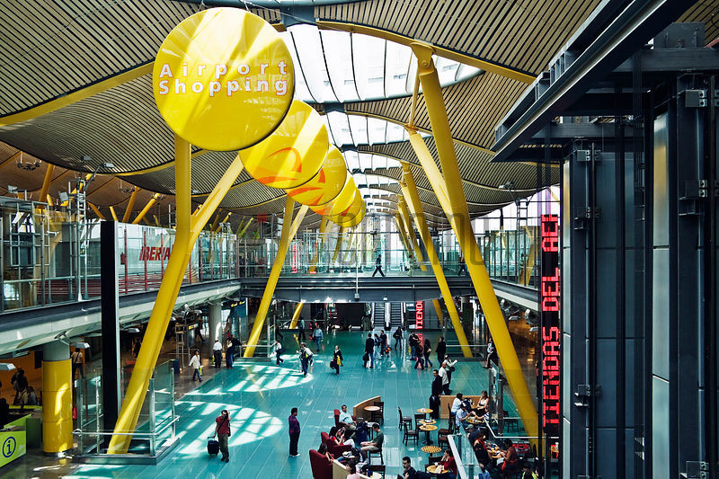 Interior of new International Terminal Designed by Santiago Calatrava at Barajas International Airport Madrid