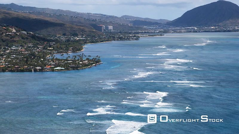 Wide view of the coastline of Aina Haina, residential area in Honolulu.