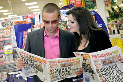 Blinkbox at Tesco Extra, Blackpool. 01.12.12.Brad Pitt and Angelina  Jolie shopping
