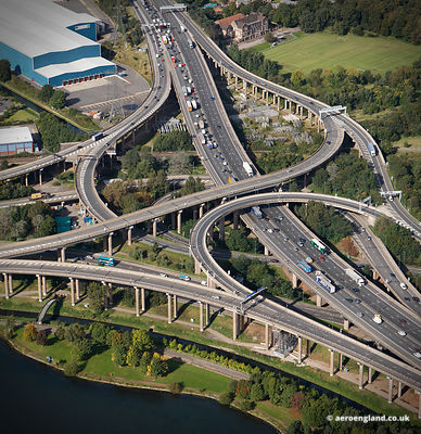 aerial photograph of Spaghetti Junction Birmingham, West Midlands England UK
