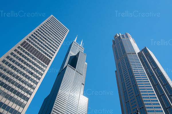 Low angle view of Willis Tower against blue sky