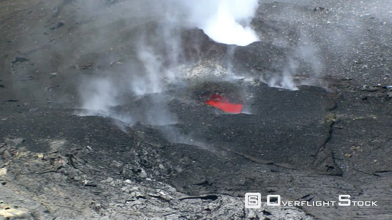 Aerial zoom-out from Puu Oo volcanic vents on Hawaii's Kilauea