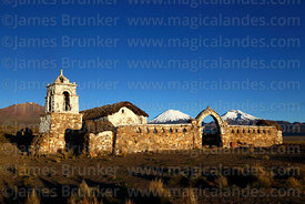 Rustic church near Lagunas, Payachatas volcanos behind, Sajama National Park, Bolivia