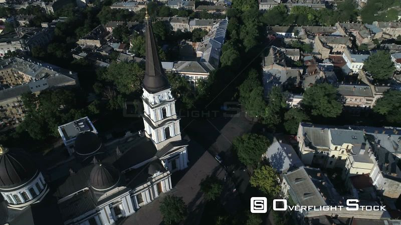 Time lapse 360 aerial rotation around the spire of Preobrazhensky Cathedral Odessa Ukraine