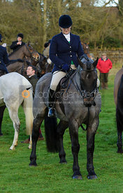 Celia McCorquodale at the meet - The Belvoir Hunt at Waltham House