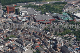 Stockport aerial photograph of Market Place and St Marys in the Market Place Churchgate and Little Underbank