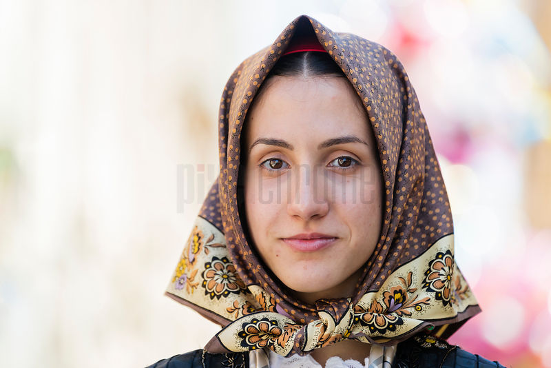 Portrait of a Sarda Woman in Traditional Dress