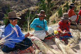 Women weaving new ropes from grass to rebuild the bridge , Q'eswachaka , Canas province , Peru