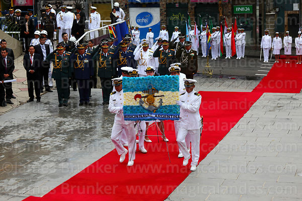 Members of the Argentine Naval Mission present a floral tribute at the start of official events for Dia del Mar / Day of the Sea, La Paz, Bolivia
