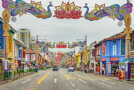 SINGAPORE CITY, SINGAPORE - OCTOBER 08, 2016: Deepvali decorations on busy road in Singapore, Asia.