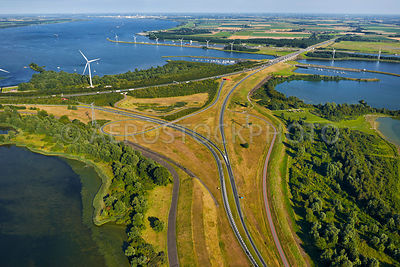 Hellegatsplein junction on the  Volkerak dam, it connects the A29 and the N59. Delta works, Willemstad, North Brabant, the Netherlands,