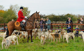 Huntsman and hounds at the meet - The Cottesmore Hunt at Toft 27/10